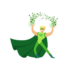Eco superhero using his super vector