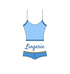 Elegant blue lingerie icon in flat style vector