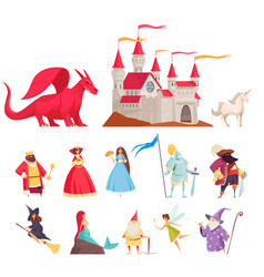 Fairy tale characters icons set vector