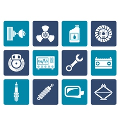 Flat Car Parts and Services icons vector image