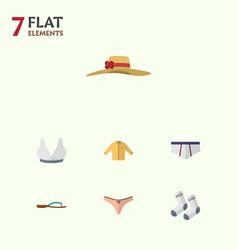 Flat clothes set of banyan foot textile elegant vector