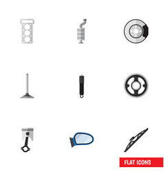 flat icon parts set of metal car segment vector image