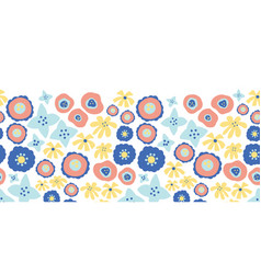 floral seamless repeat border blue flowers vector image