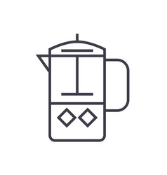 french press line icon sign vector image