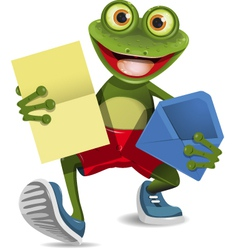 Frog with a letter vector image