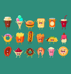 Funny fast food comic characters sett ice cream vector