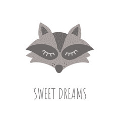 Funny raccoon retro stylesweet dreams phrase vector