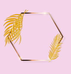 gold paint glittering textured frame woth palm vector image