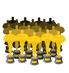 Golden figurine Golden statuette Many gold figures vector image