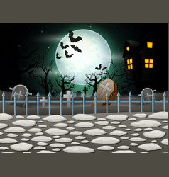 Halloween background with house in full moon vector
