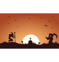 Halloween warlock and witch silhouette vector image