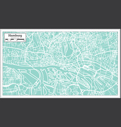 Hamburg germany city map in retro style outline vector
