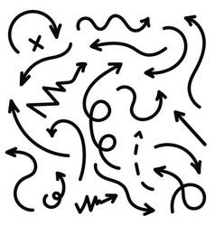 hand drawn arrows set black sketch arrows in vector image