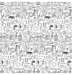 Hand drawn Home seamless pattern vector image