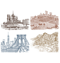 Historical architecture with buildings and vector