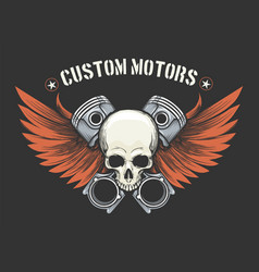 human skull with pistons and wings emblem vector image