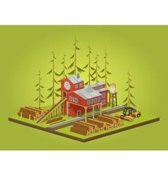 Lumber mill Sawmill building vector