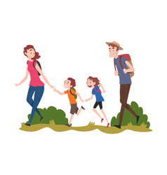 Mom dad their son and daughter hiking on nature vector