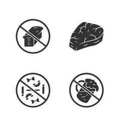 No gluten diet glyph icons set zero carbs vector