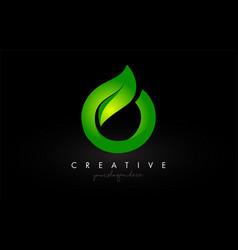 O leaf letter logo icon design in green colors vector