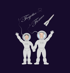 pair of lovers astronauts vector image vector image