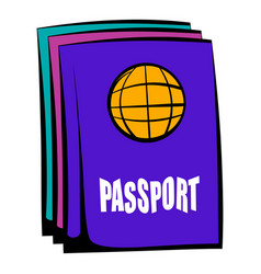 Passport icon cartoon vector