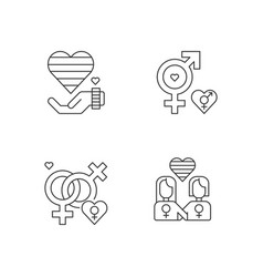 peaceful pride parade pixel perfect linear icons vector image