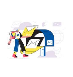person sending letter via post box vector image