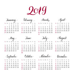 Plain wall calendar 2019 year lettering flat vector