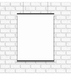 Poster hanging on seamless brick wall vector