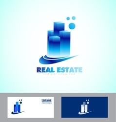 Real estate blue skyscraper logo vector image