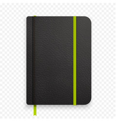 Realistic black notebook with green elastic band vector