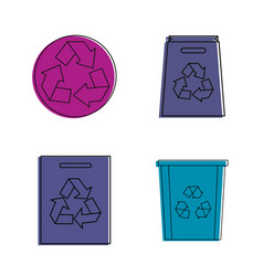 recycle object icon set color outline style vector image