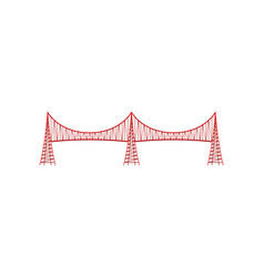 red metal bridge on white background vector image