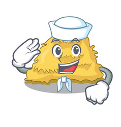 Sailor hay bale character cartoon vector
