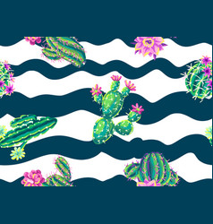 seamless pattern with cacti and flowers vector image