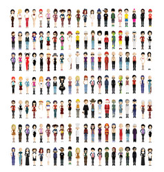 Set colorful avatars characters vector