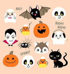 set cute halloween design elements vector image