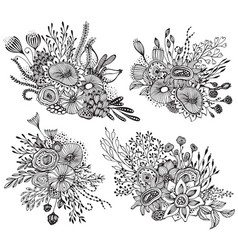 Set four beautiful fantasy bouquets with hand vector