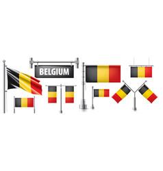 Set national flag belgium vector