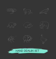 set of animal icons line style symbols with vector image