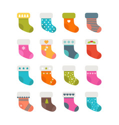 set of colorful socks with different patterns vector image