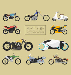 set of motorcycle icons retro and modern flat vector image