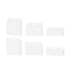 Set packaging boxes with hang tab vector