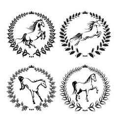 Set with labels of horses vector