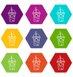 soda icons set 9 vector image