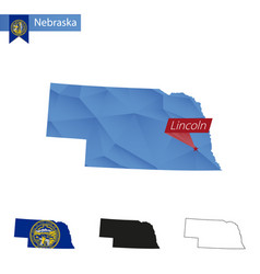 State nebraska blue low poly map with capital vector