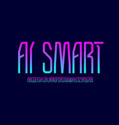 Technical high font condensed modern alphabet vector