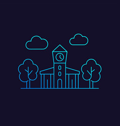 town hall municipal building icon line vector image