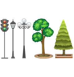 traffic light and trees in the park vector image